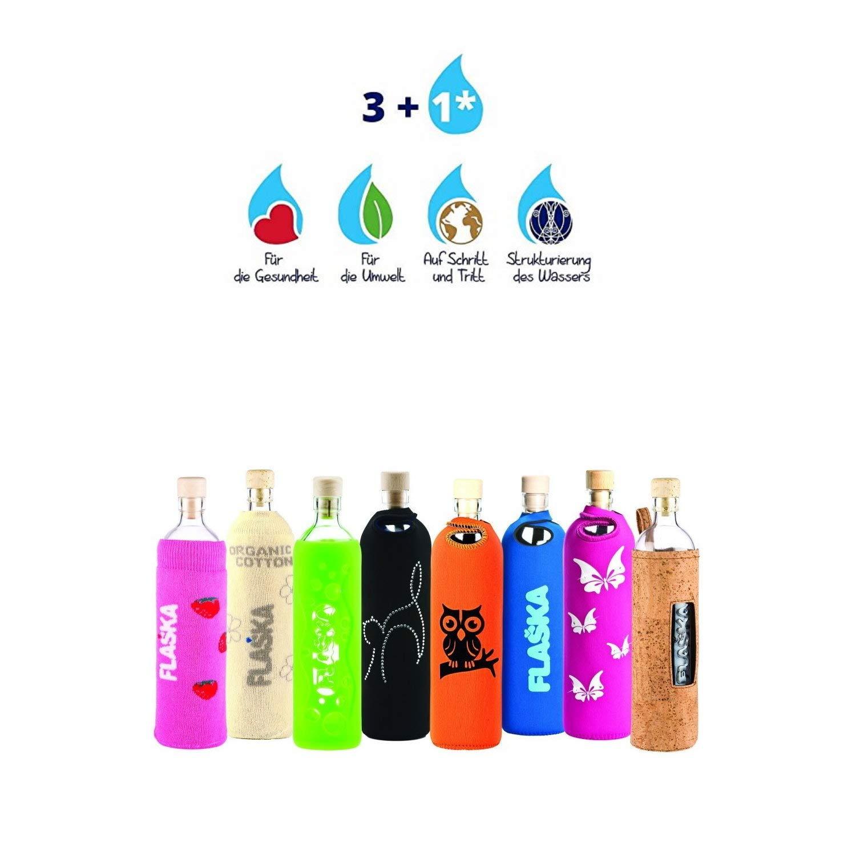 flaska Botella Grip 0,5 l de agua - Botella Cristal + 2 corcho, blaue Lagune: Amazon.es: Deportes y aire libre