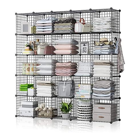brand new a3f0e af46f GEORGE&DANIS Wire Cube Storage Shelf Rack Multi-use Bookcase Bookshelf  Stackable Metal Wardrobe Closet Organizer, Black, 14 inches Depth, 5x5 Tiers