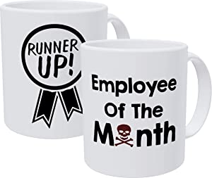 Willcallyou Employee Of The Month Runner Up and Skull Bundle Pack Of 2 Funny Coffee Mugs For Coworkers, 11 Ounces Sarcastic Mug For Office Humor And Coworker, White Elephant Exchange Gifts, Death by M