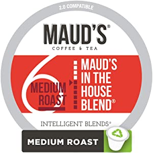 Maud's House Blend Coffee (Medium Roast) 100ct. Recyclable Single Serve Coffee Pods - Richly satisfying arabica beans California Roasted, k-cup compatible including 2.0
