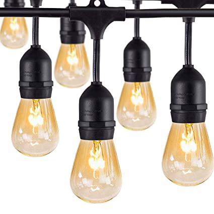 Outdoor Commercial String Lights- AMLIGHT 24 Ft Heavy Duty ...