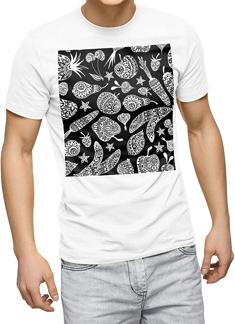 igsticker Graphic T-Shirt for Men XL Size White Crew Neck Printed Cotton T-Shirts 010157 Food Asian White Black