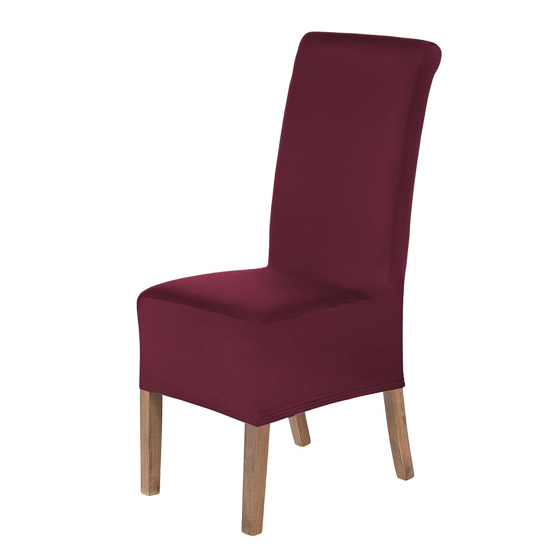 Altezza del Sedile 20-24cm Bordeaux Elasticizzato Coperturie sedie SCHEFFLER-Home Lena Set di 2 Coprisedie della Sedia Decorativo Protezione in Stretch con Banda Elastica