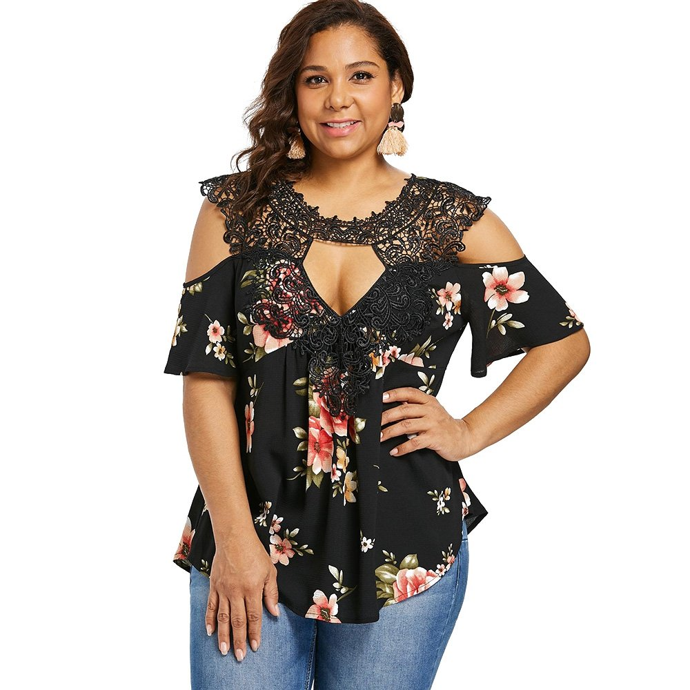 39ebc460b89f2 RoseGal Plus Size Top Floral Flare Sleeve Casual T Shirt Cold Shoulder  Blouse for Women  Amazon.co.uk  Clothing