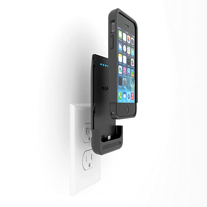 hot sales f5dc8 35edd Prong PWR Case iPhone 1500 mAh Battery case and Integrated A/C Charger for  iPhone 5/5s - Slate