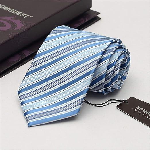 FUWUX 9 cm Azul Claro Corbata de la Raya diseño clásico 100% Seda ...