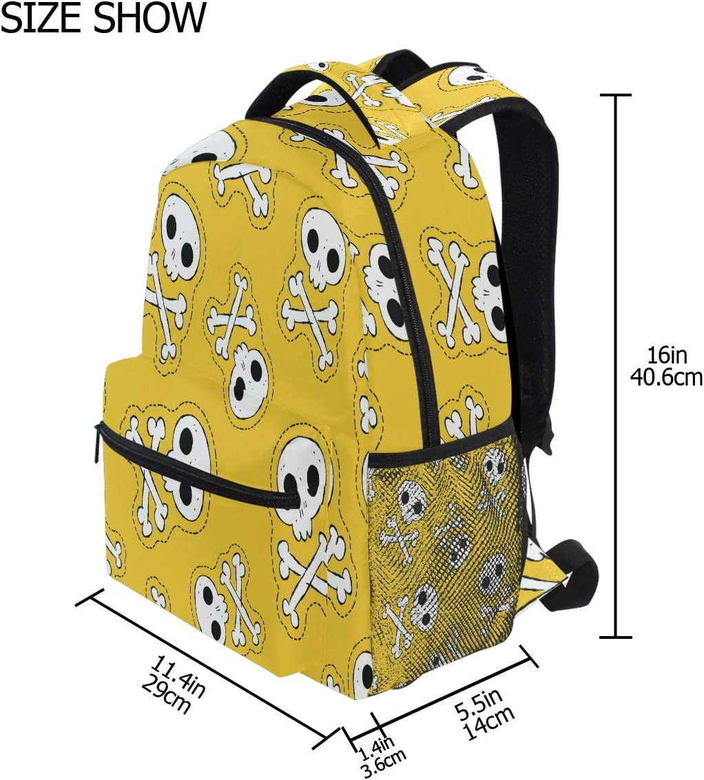 Nander Laptop Travel Backpack Skull Yellow Large Capacity Business College Student School Bookbags