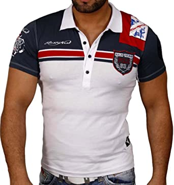 R-Neal Hombre Manga Corta Cuello En V Camiseta de Polo Polo Camisa ...