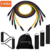 TOPELEK [Up to 100 Lbs] Exercise Resistance Bands Set, Fitness Stretch Bands with Handle