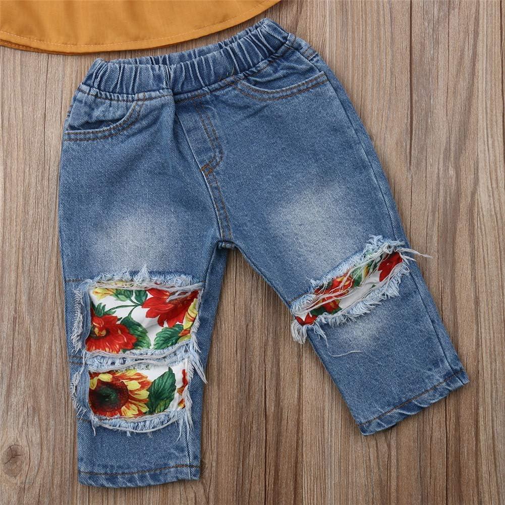 Geagodelia Toddler Kids Baby Girls T-Shirt Off The Shoulder Short Sleeve Tops Denim Jeans Pants Summer Clothes Outfits Set