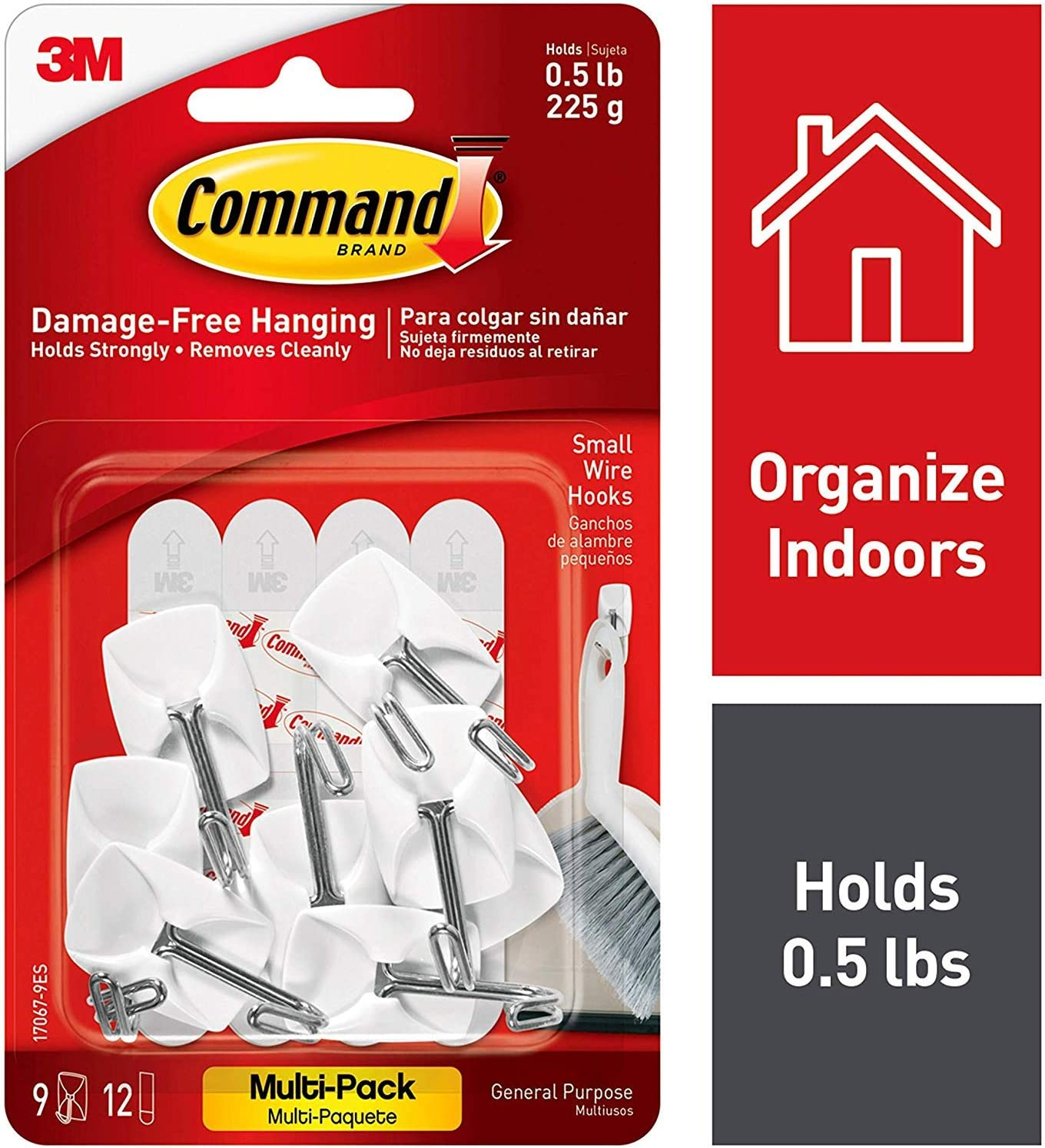 3M Command 9 Small Wire Hooks 12 Adhesive Strips Wall Hanger VALUE PACK 17067-VP