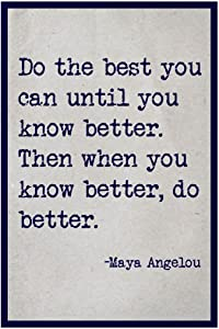 SJC Do The Best You Can Maya Angelou Quote Wall Poster Print|Classroom Office Business Dorm Home Office|18 X 12 in|SJC76