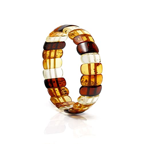 Genuine Natural Baltic Multicolored Amber Stretch Bracelet For Women