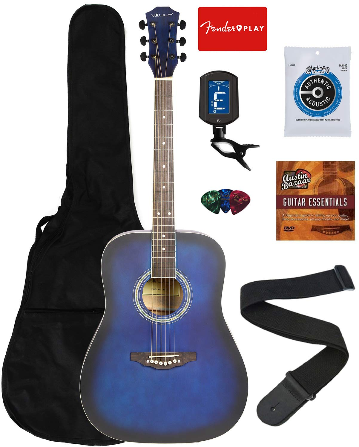Vault 41-Inch Dreadnought Acoustic Guitar - Blue Bundle with Gig Bag, Tuner, String, Picks, Strap, and Instructional DVD by VAULT