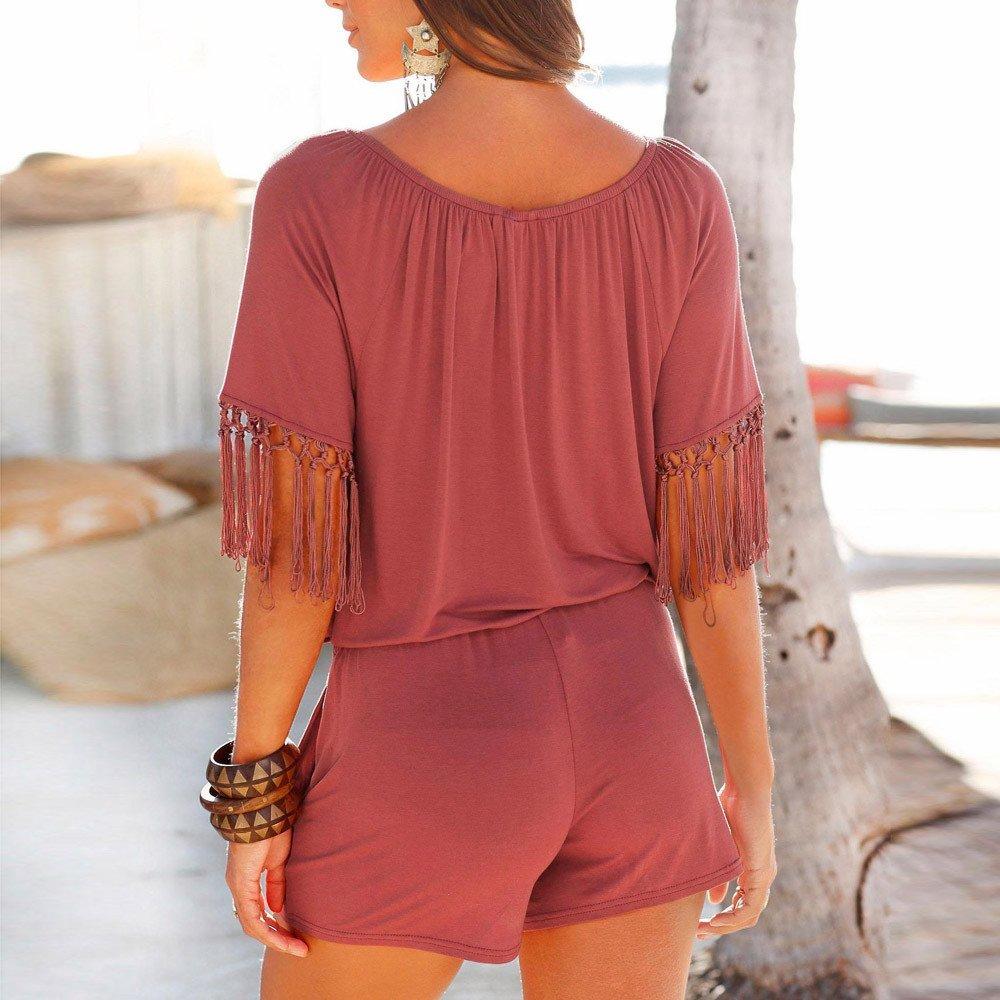 Fashion Casual Women Tassel Jumpsuits Romper Playsuit Short Pants Wine by Cardigo (Image #2)