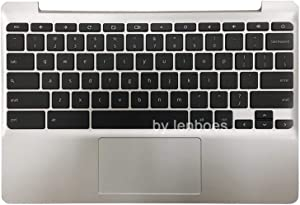 Rinbers for HP Chromebook 11 G5 Silver Palmrest Upper Case with Keyboard and Touchpad Assembly Replacement Part 900818-001 855623-001