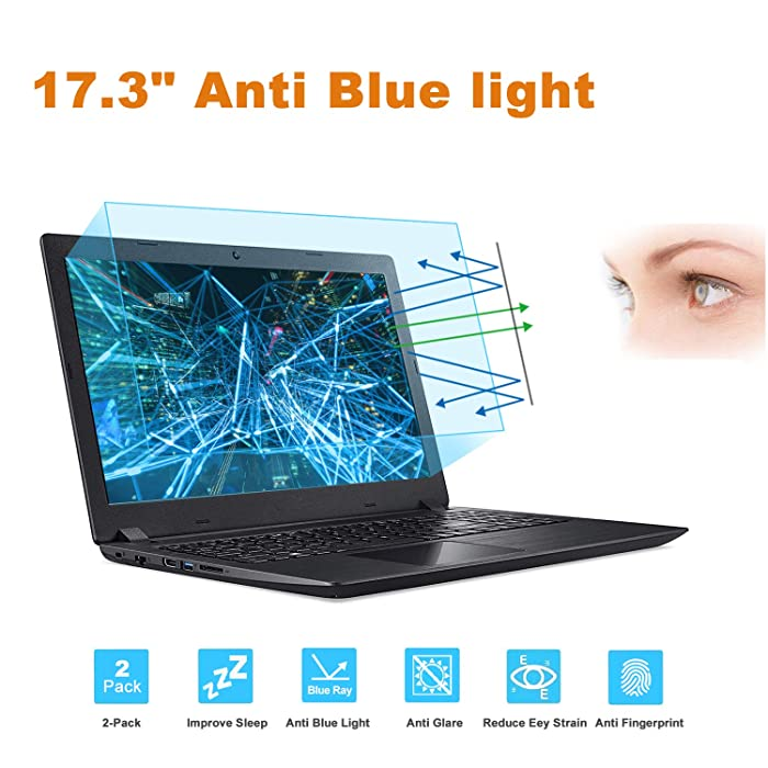 "FORITO 17.3"" Laptop Anti Blue Light Anti Glare Screen Protector, 2-Pack Eye Protection Blue Light Blocking Screen Protector for 17.3"" with 16:9 Aspect Ratio Laptop Screen(Size: 15"" W x 8.5"" H)"