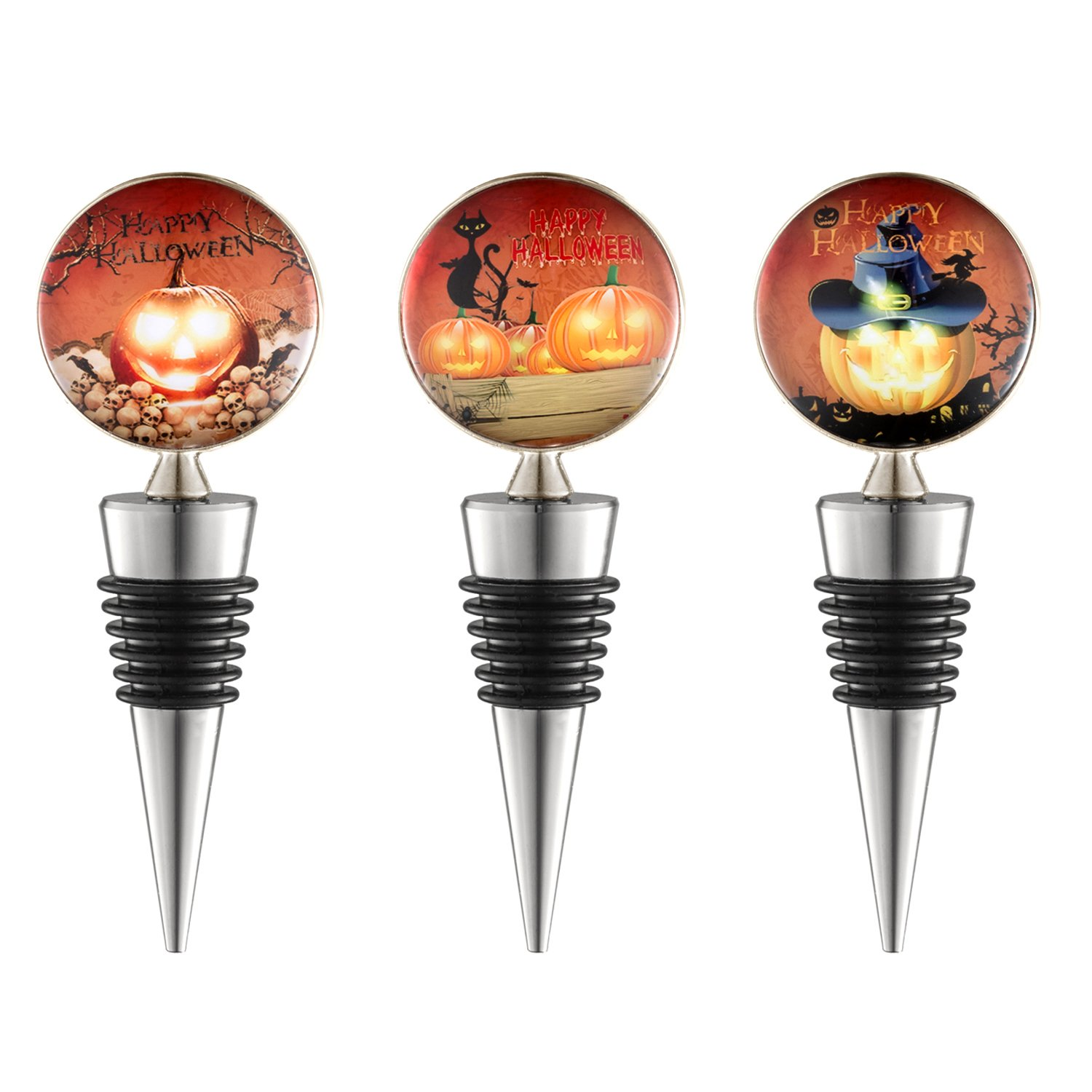 Wine Bottle Stoppers for Gifts,Holiday Party, Bar, FDA Approved,Set of 3