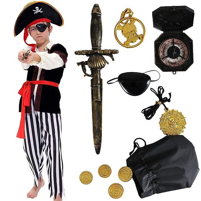 Amazon.com: Disfraz de pirata para niños, disfraz de lujo ...