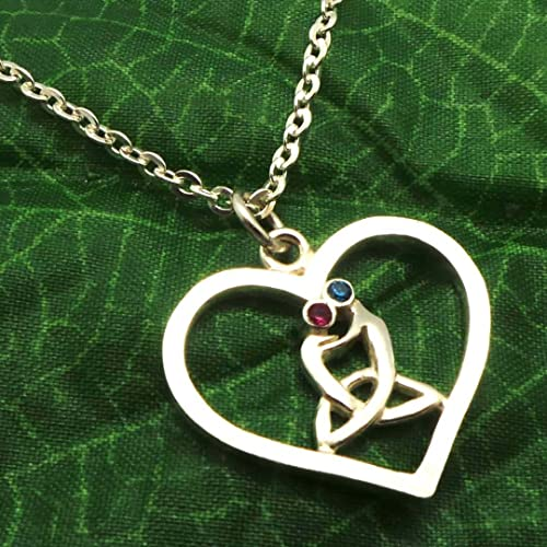 925 Sterling Silver Celtic Mother And Child Knot Heart Ndant