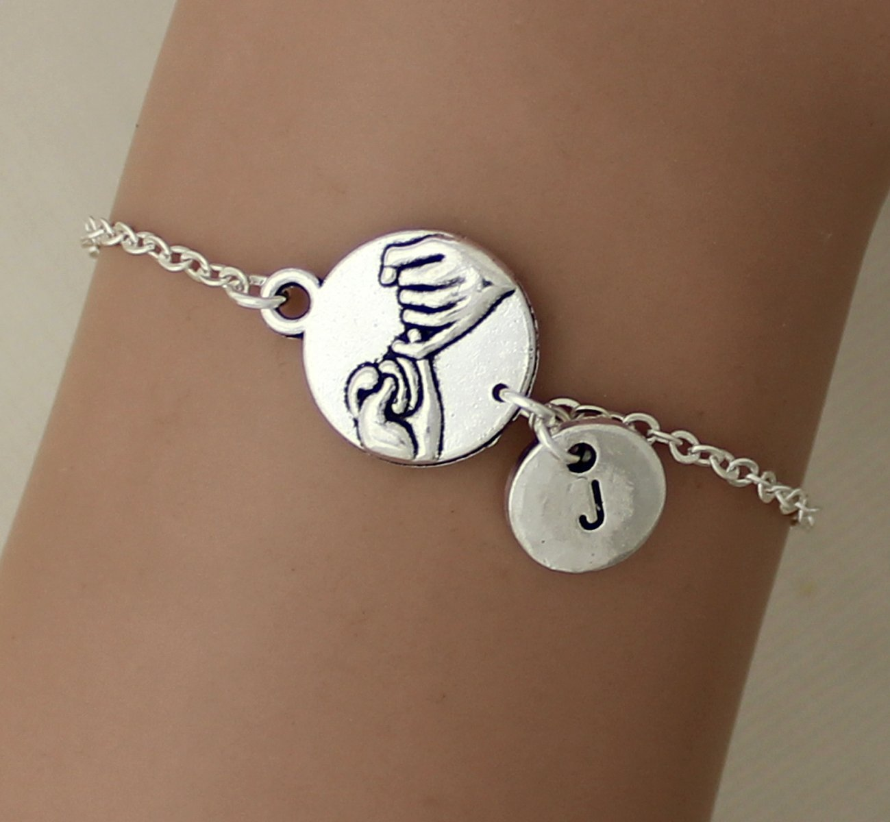 Lovers Heart Bracelet Friends Letter Initial Bangle Caduceus Promise Pinky Personalized Gift Jewelry Silver You/'re my person