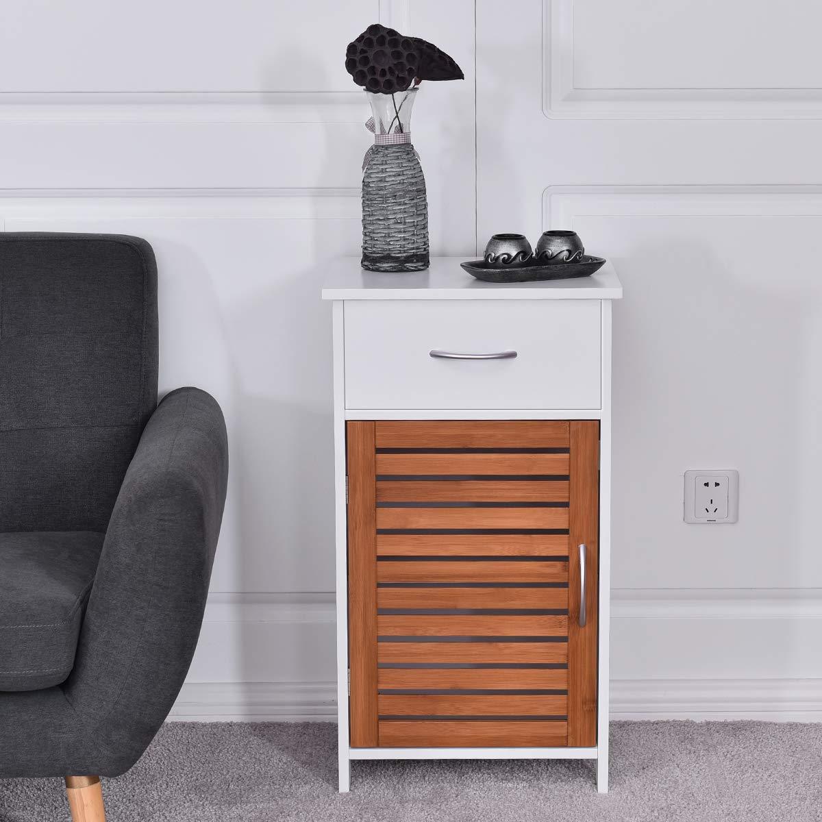 WATERJOY Storage Cabinet, Wooden Floor Cabinet with Shutter Door and Drawer, Elegant Bedside Cabinet for Bathroom, Bedroom and Living Room, White