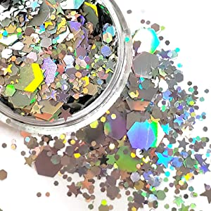 Chunky Glitter Makeup ✮ Starlightshine SIlver Rain 6g ✮ Festival Cosmetic Beauty Makeup Face Body Glitter Hair Nails Rave Holographic Glitter (6g)
