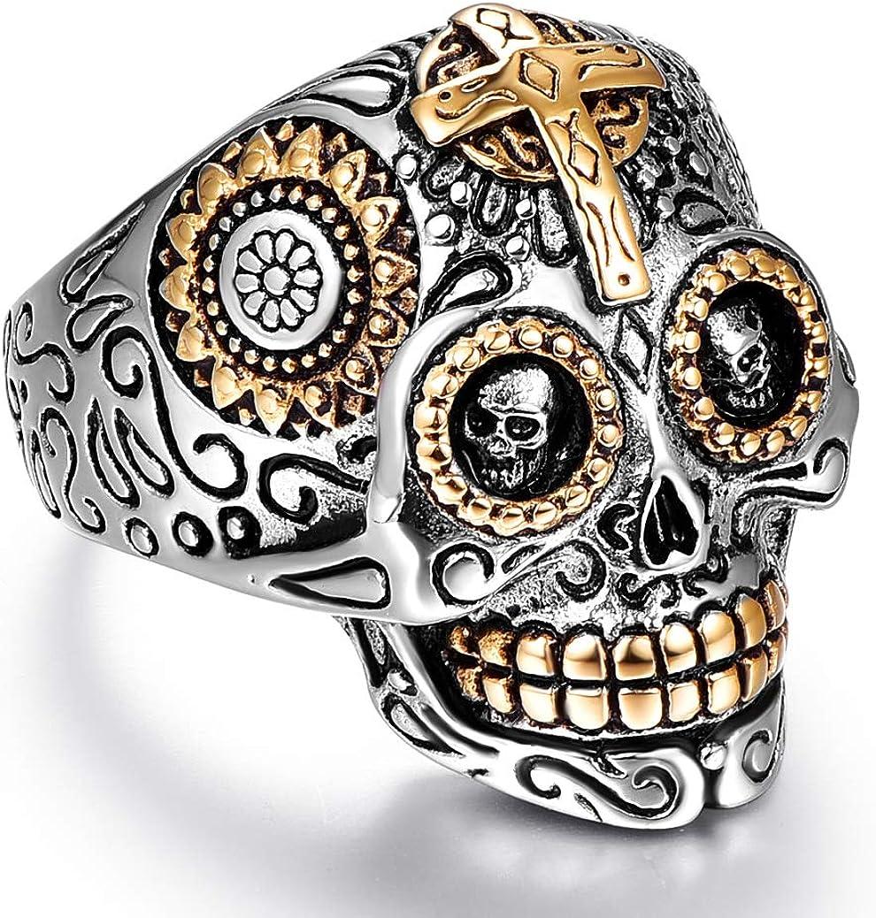 Mens Jewelry,Biker Ring Man Skull Rings Gift for Him,Ring Band Men/'s Silver Skull Ring,Guys Gifts Ring Skull