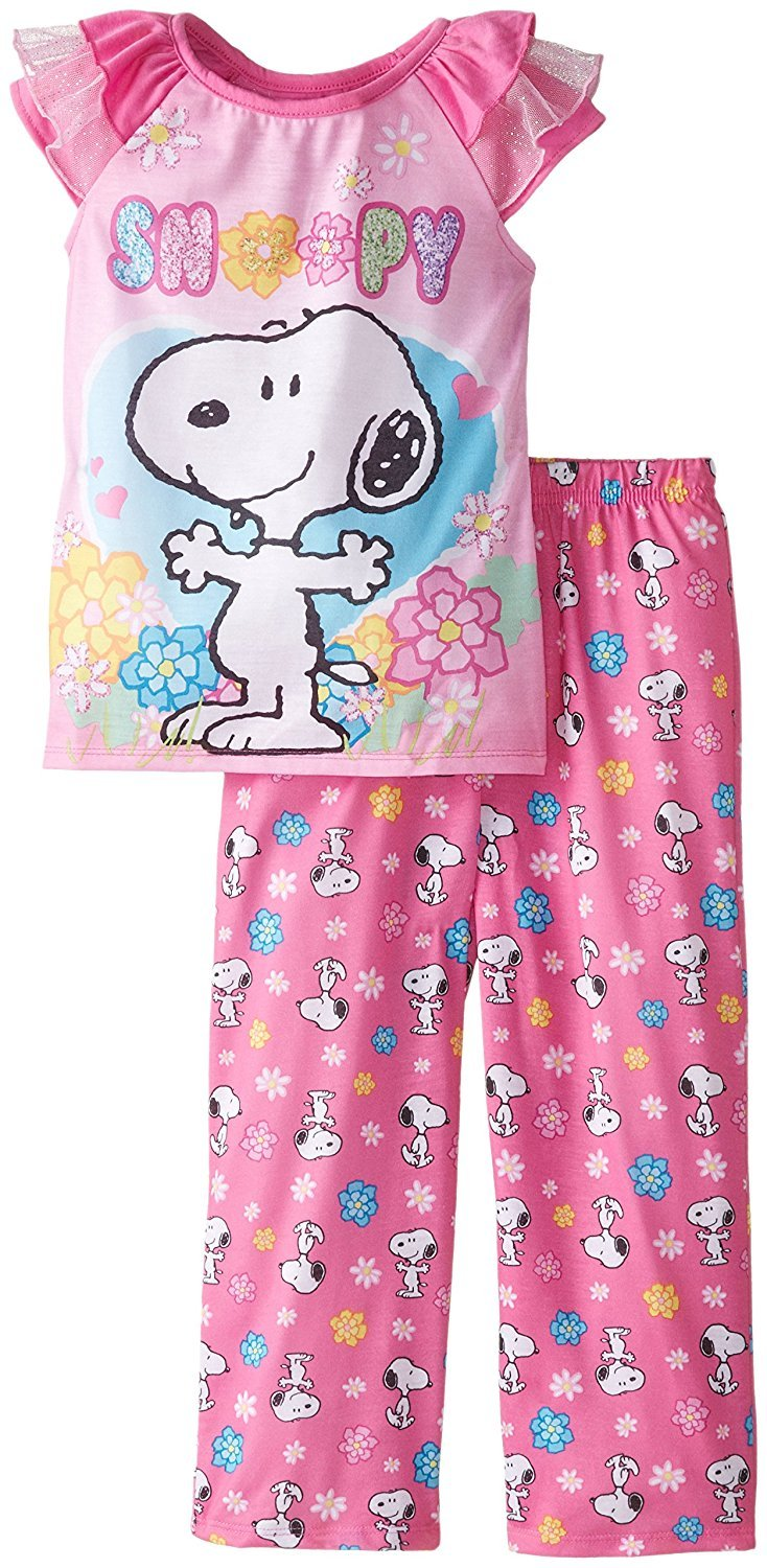 Peanuts Snoopy Girls Pink Poly Pajamas (M (7/8))