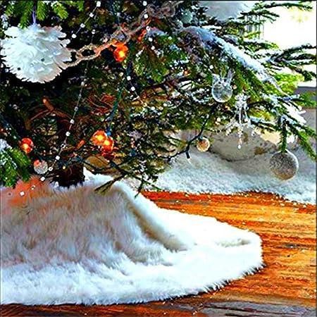 Christmas Tree Skirt Lomire Jupe Blanc en Peluche de Sapin de No/ël Tapis Peluche du d/écor No/ël Parfait pour No/ël Nouvel an F/ête Vacances 78cm Couvre-Pied en Fausse Fourrure pour Arbre de No/ël