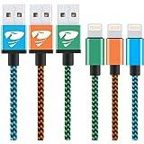 Câble iPhone Rephoenix Nylon Câble Lightning vers USB pour iPhone 7 7 Plus, iPhone 6S/6S Plus iPhone 5/5s/5c iPad Air iPad mini iPhone 5 Série de 2m(Bleu,Orange,Vert)