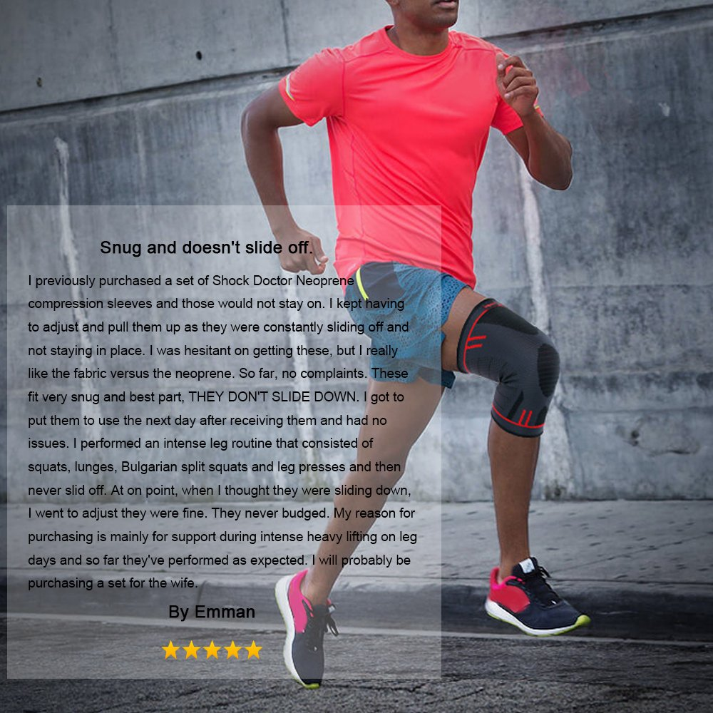 0a2f63c2de Amazon.com: Kuangmi Knee Brace Compression Sleeve Support for  Running,Jogging,Basketball,Joint Pain Relief,Arthritis and Injury Recovery:  Sports & Outdoors