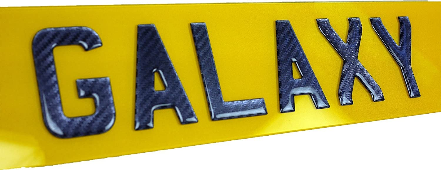 Carbon 3D Resin Gel Domed Self Adhesive Number Plate Letter U