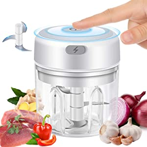 Electric Mini Garlic Chopper,Cordless Food Processor Mincer Blender Mixer Portable Electric Garlic Mincer Food Slicer and Powerful Chopper for Baby Food,Chili Vegetable Nuts Meat (Big (250ml/ 8.4oz)