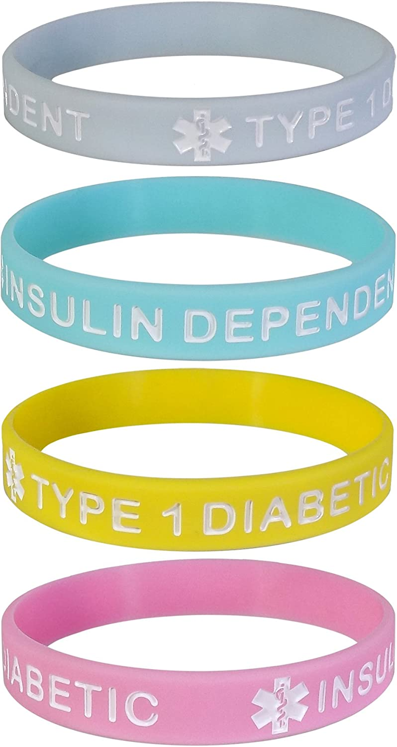 Max Petals Type 1 Diabetic Insulin Dependent Medical Alert ID Silicone Bracelet Wristbands Pastels 4 Pack