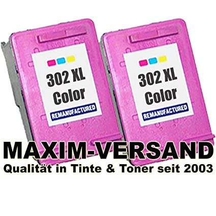 Set 2 cartuchos de tinta XL para HP 302 XL 3 colores/Tri-color ...