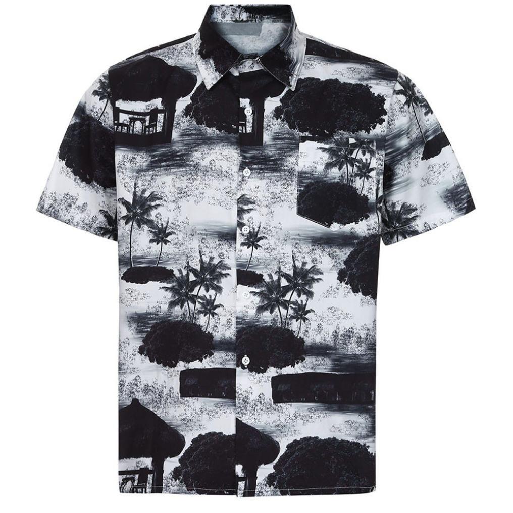 Men Short Sleeve Shirt,Vanvler Male { Floral Hawaiian Shirt } Front-Pocket Blouse Top (M, Black)