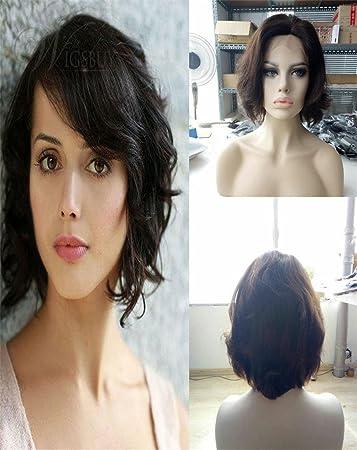 Amazon.com   Natural Black Glueless Frontal Lace Wig Human Hair Brazilian  Virgin Human Hair Wavy Short Bob Wig 130% Density Lace Frontal Wigs Natural  ... c78c4b9acc0f