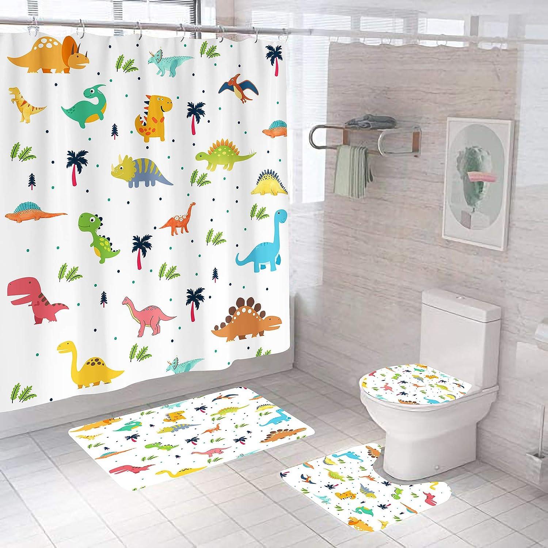 4 Pcs Cartoon Dinosaur Shower Curtain Sets with Bathroom Rugs Set,Include Non-Slip Rug, Toilet Lid Cover,Bath Mat,12 Hooks,Cute Animal Waterproof Shower Curtains for Boy and Girl Bathroom Decor