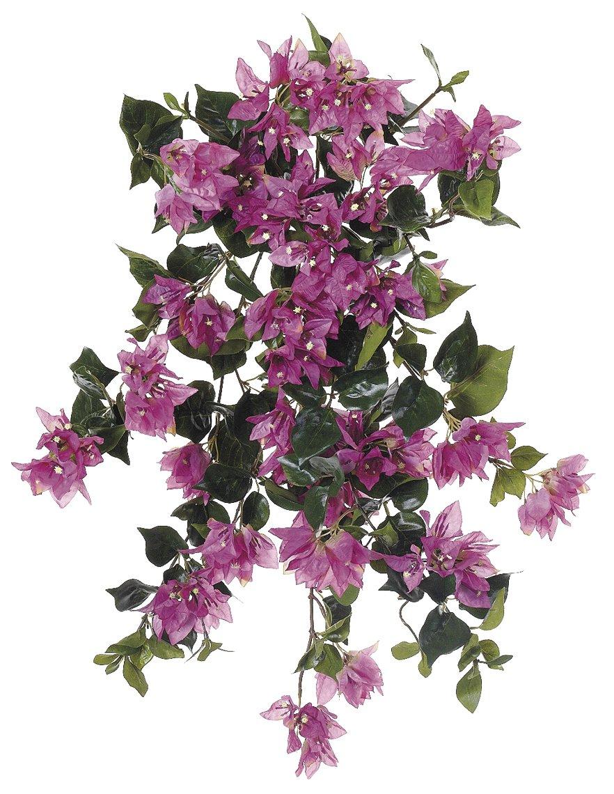 silk flower arrangements artificial 24-inch orchid pink bougainvillea trailing bush (set of 6)