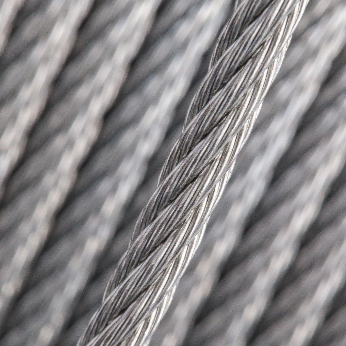 Seilwerk STANKE C/âble dAcier Galvanis/é DIN Corde Foresti/ère Corde de Levage C/âble de Treuil 1x19 2 mm 40 m