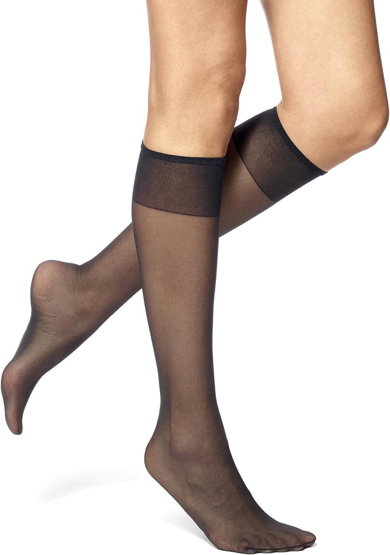 Leggs Hosiery Plus Size Knee Highs-Off Black-Sheer Toe-Made in USA-8 Pairs