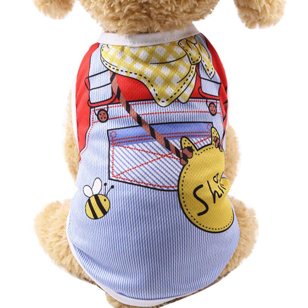 Sunward Puppy Clothing,Summer Pet Dog Clothes Puppy Dog Cat Vest Shirt Fake Strap Blue (B07XV7XF4P) Amazon Price History, Amazon Price Tracker