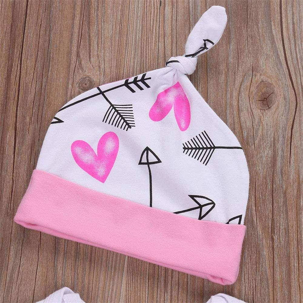 Pink, 3-6m 4PCS Infant Baby Girl Clothes The Princess Has Arrived Romper Arrow Pants Headband Hat Set Toddler Valentines Day Outfits