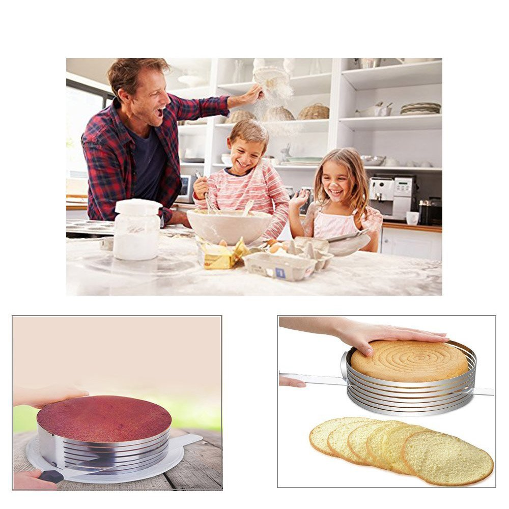 Adjustable 7 Layer 9 Inch - 12 Inch Stainless Steel Layer Cake Slicer Mousse Mould, Making Cakes, Bread, Biscuit, Cookies, Chocolate by HUAXIONG (Image #7)
