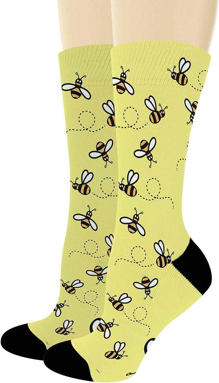 Unisex Novelty Socks Bumble Bee Socks Honey Bee Themed Gift for Bee Lovers Novelty Crew Socks
