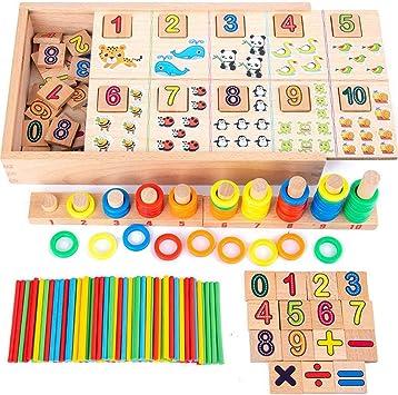 Wood Montessori Math Educational Toy Sticks Counting Game Kid Preschool Learning