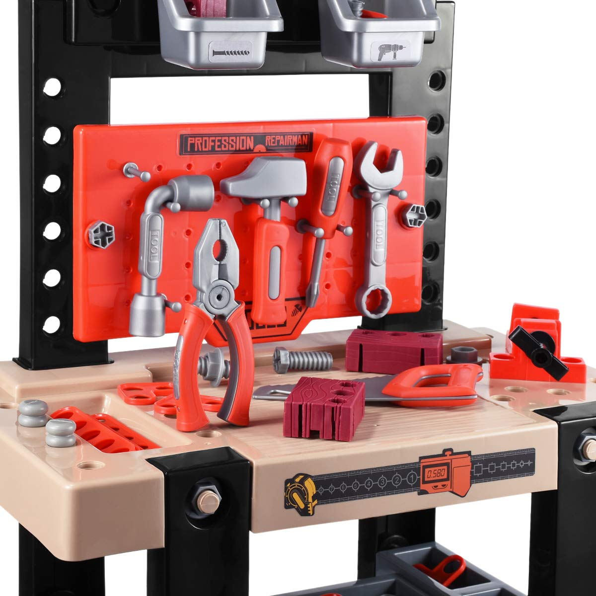 iBaseToy Toy Tool Bench, Kids Power Workbench, 91Piece Construction Toy Bench Set with Electric Drill, Educational Play & Pretend Play Workbench for Toddlers by iBaseToy (Image #5)