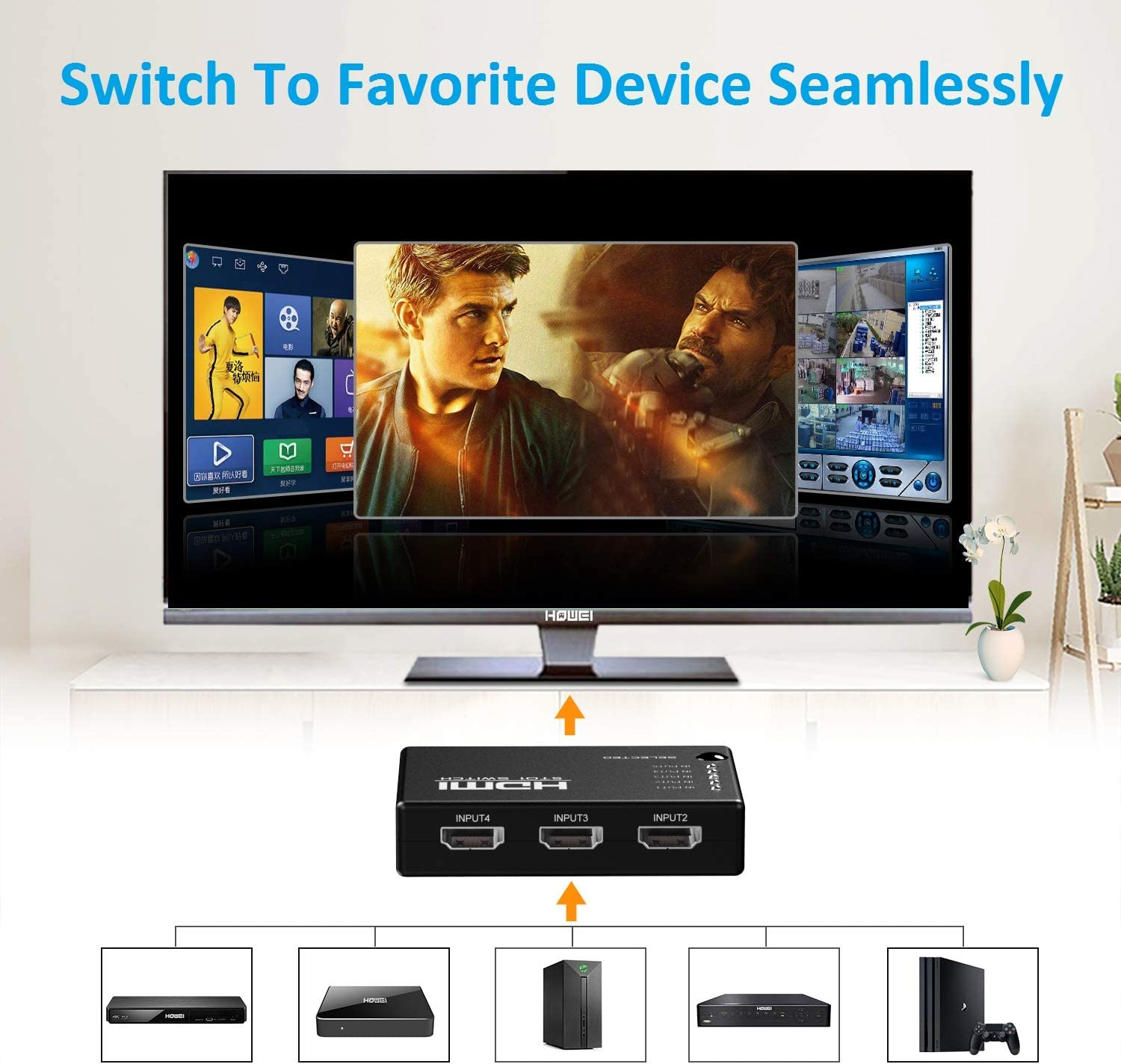 Selector Switch Boxes Accessories & Supplies HDMI Switch 4k 5 in 1 ...