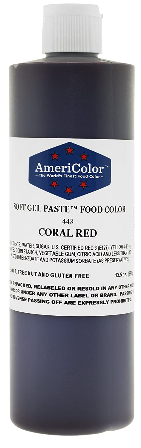 AmeriColor Food Coloring, Coral Red Soft Gel Paste 13.5 Ounce Bottle